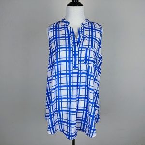 Stitch Fix Shirt Papermoon Blue White Plaid Pocket